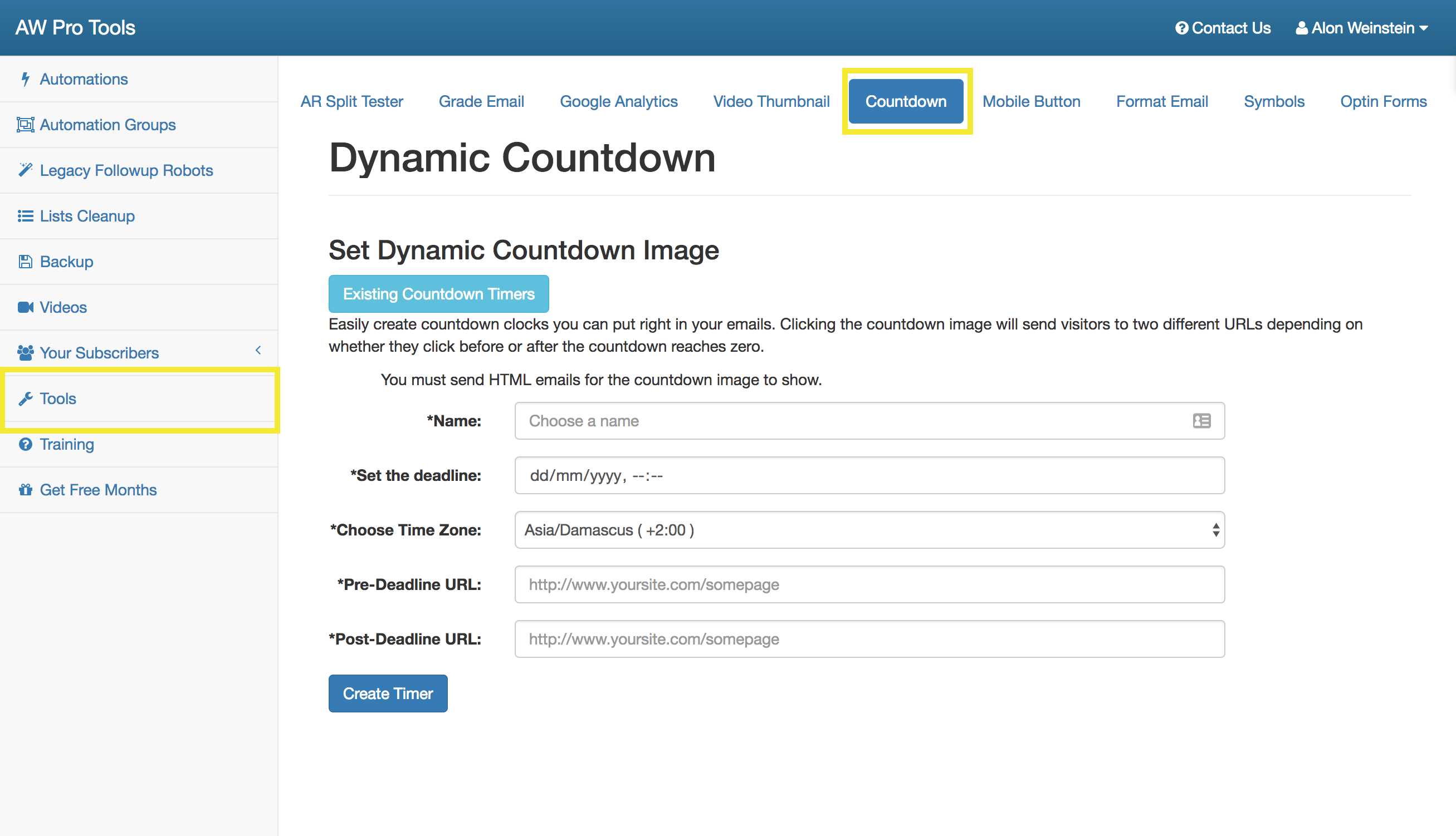 Step 1 - Go to Tools -> Countdown Timer